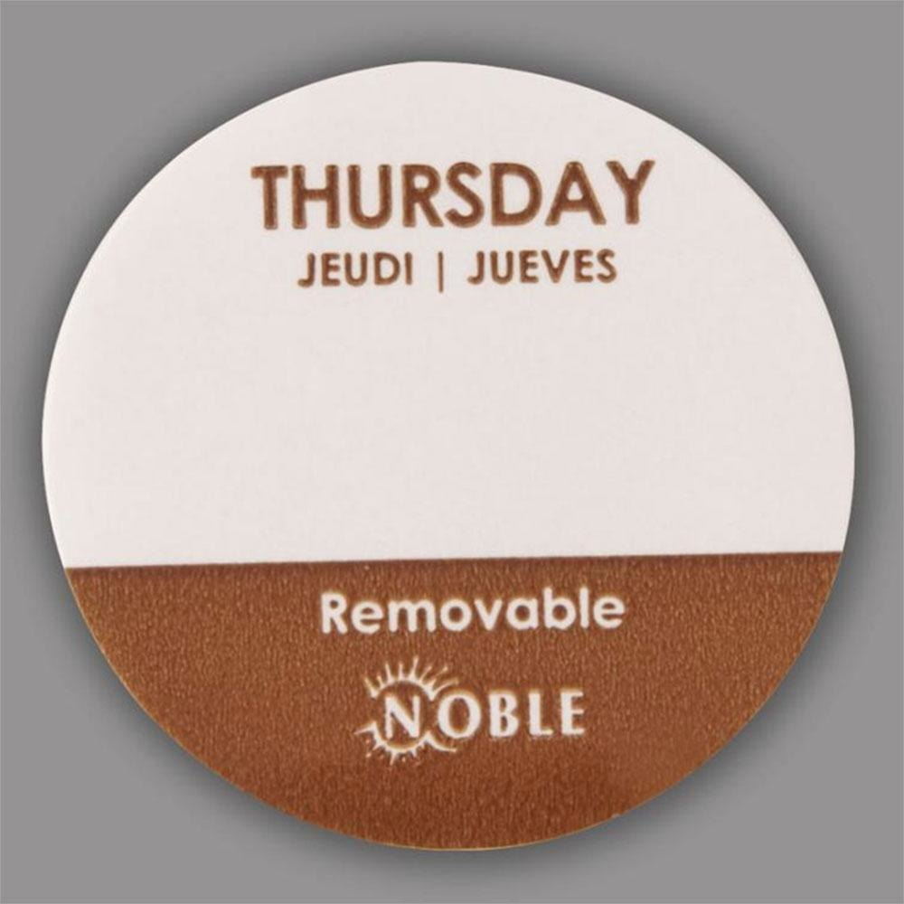Noble Thursday Removable Day of the Week Dot Label 1 inch – 1000 / Roll