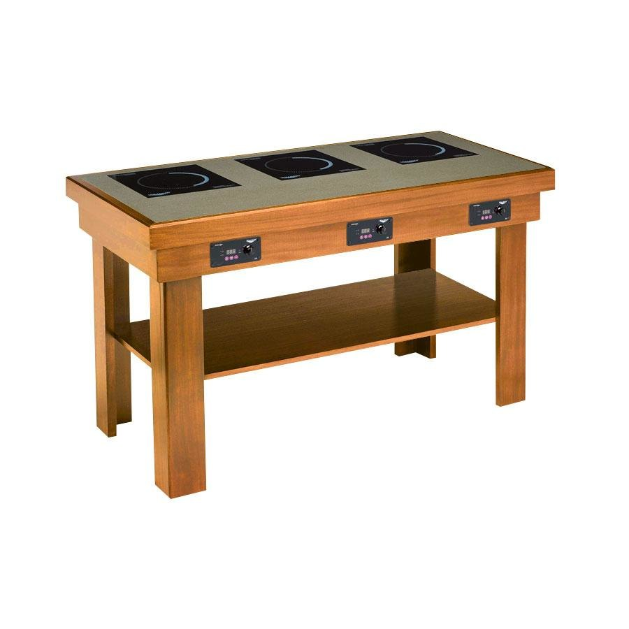 Vollrath 7552283 medium oak induction buffet table with 3 - Table induction 3 foyers ...