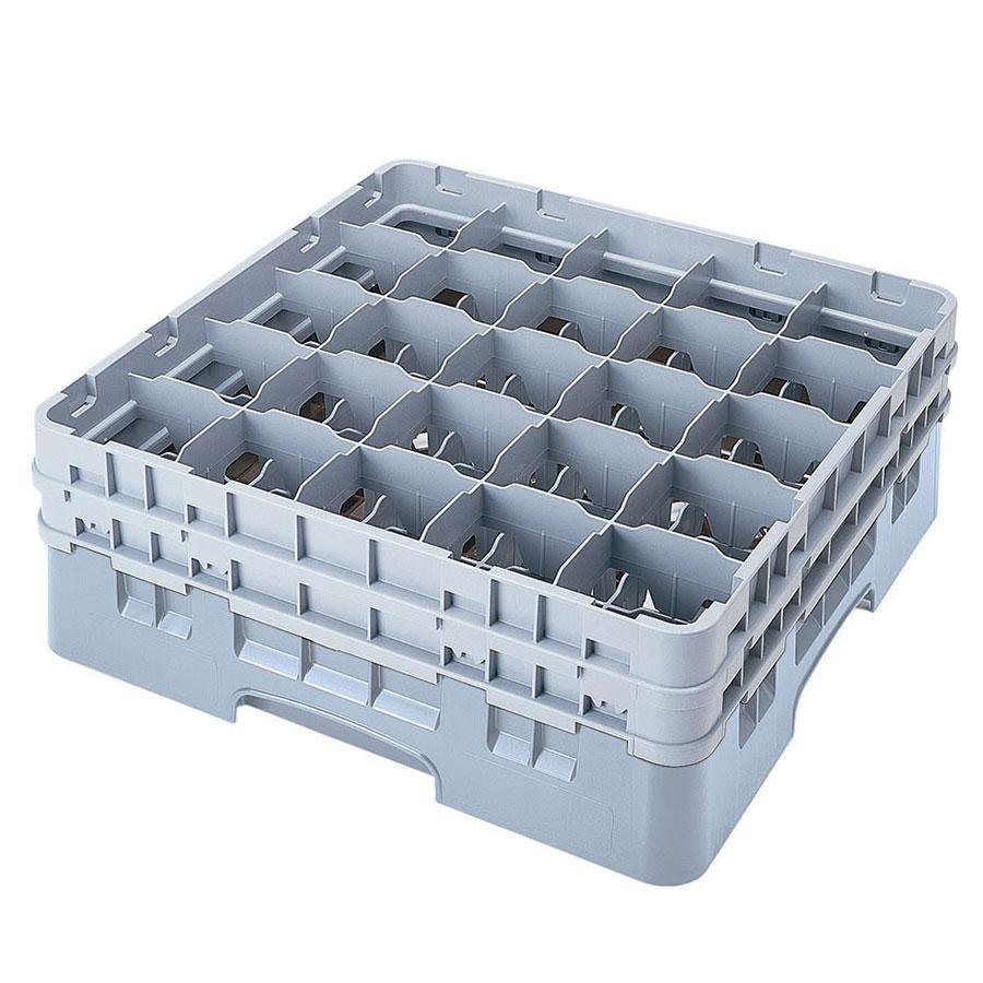 "Cambro 25S738151 Camrack 7 3/4"" High Gray 25 Compartment Glass Rack"