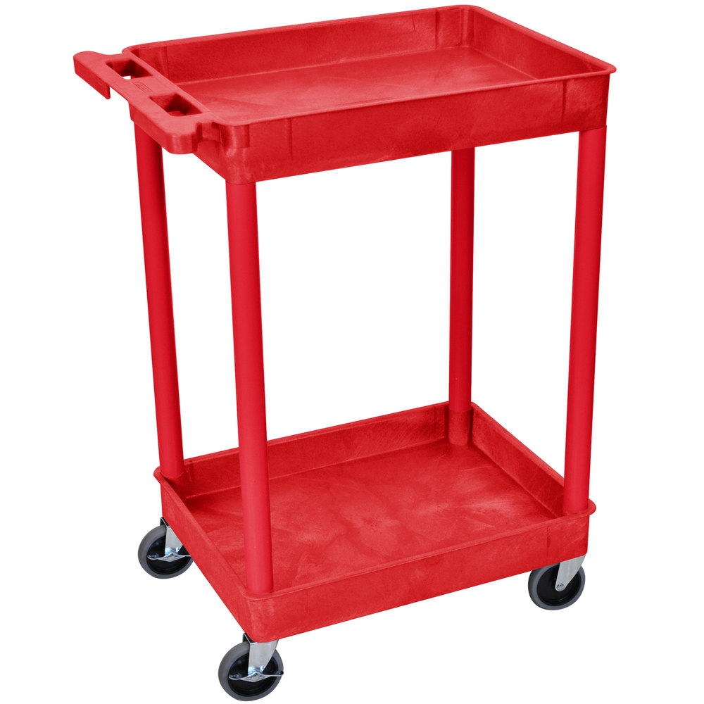 "Luxor / H. Wilson RDSTC11RD Red 2 Tub Utility Cart - 18"" x 24"" x 37 1/2"""