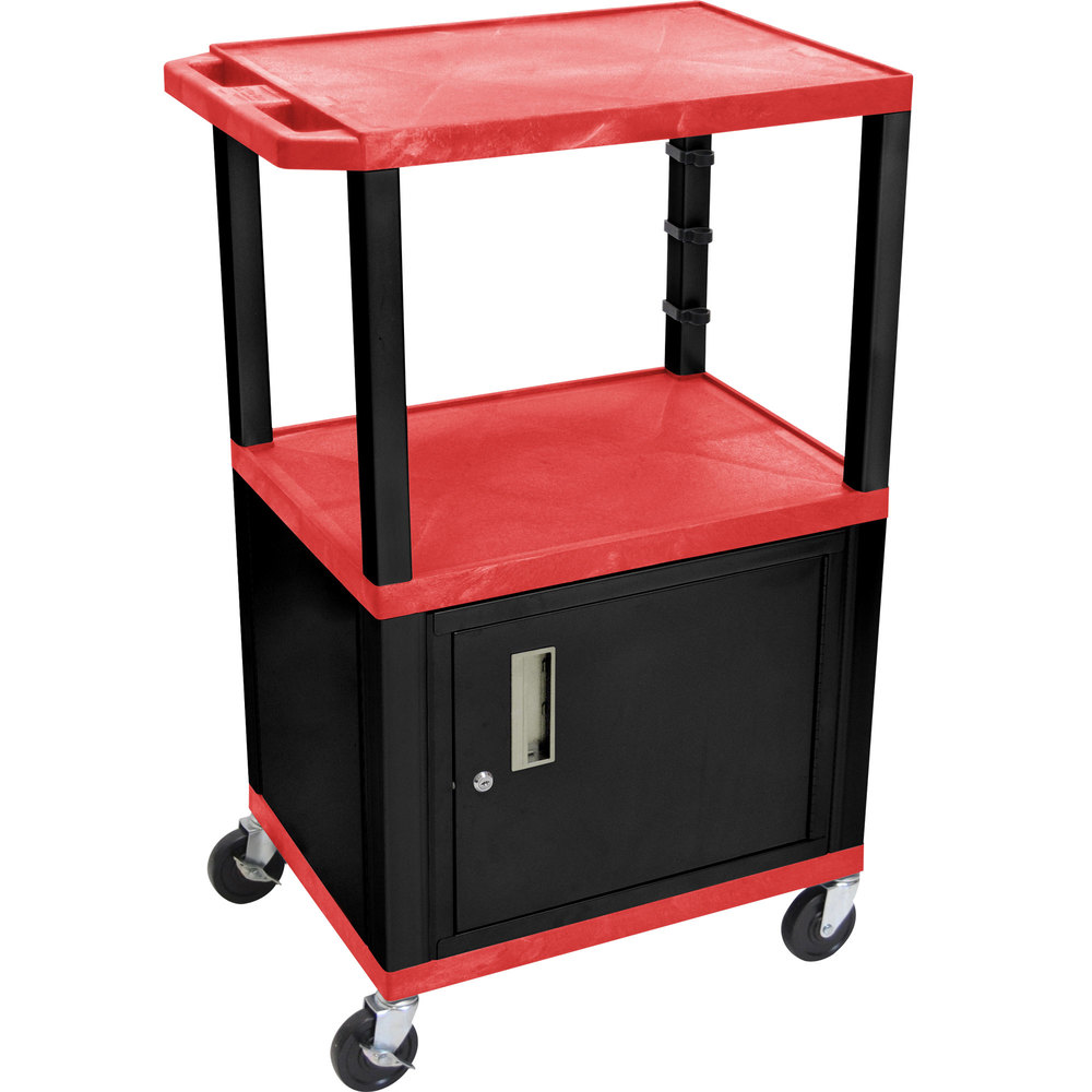 "Luxor / H. Wilson WT2642RC2E-B Red Tuffy Two Shelf Adjustable Height A/V Cart with Locking Cabinet - 18"" x 24"""