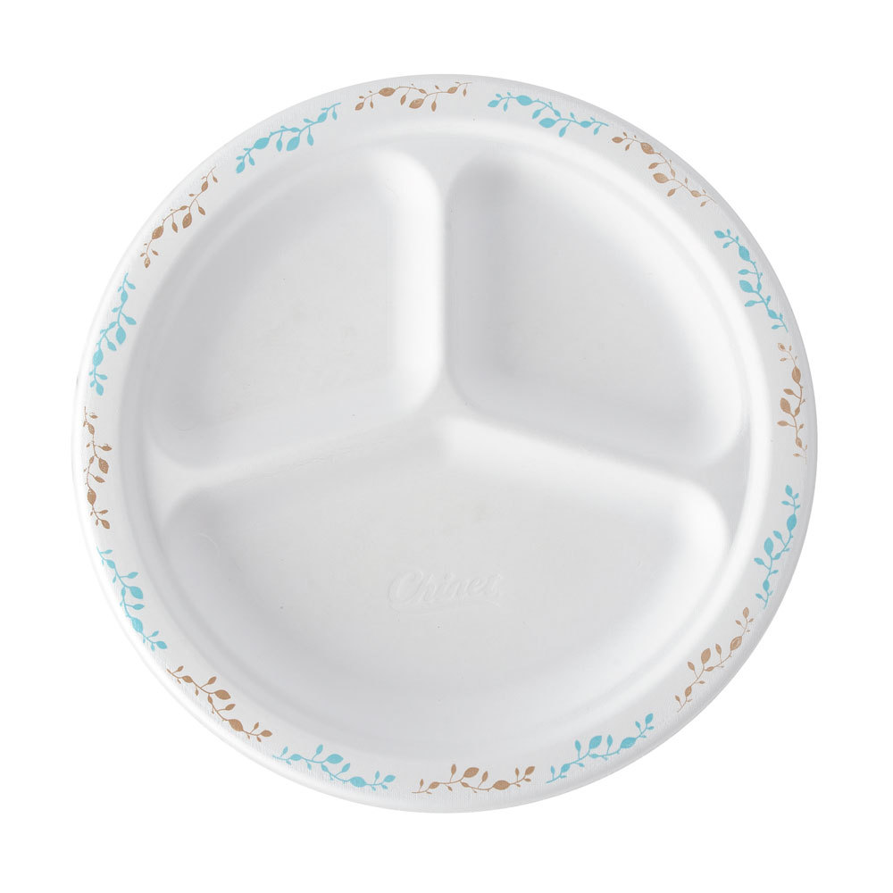 "Huhtamaki Chinet 22517 9 1/4"" 3-Compartment Molded Fiber Round Plate with Vines Design - 125/Pack"