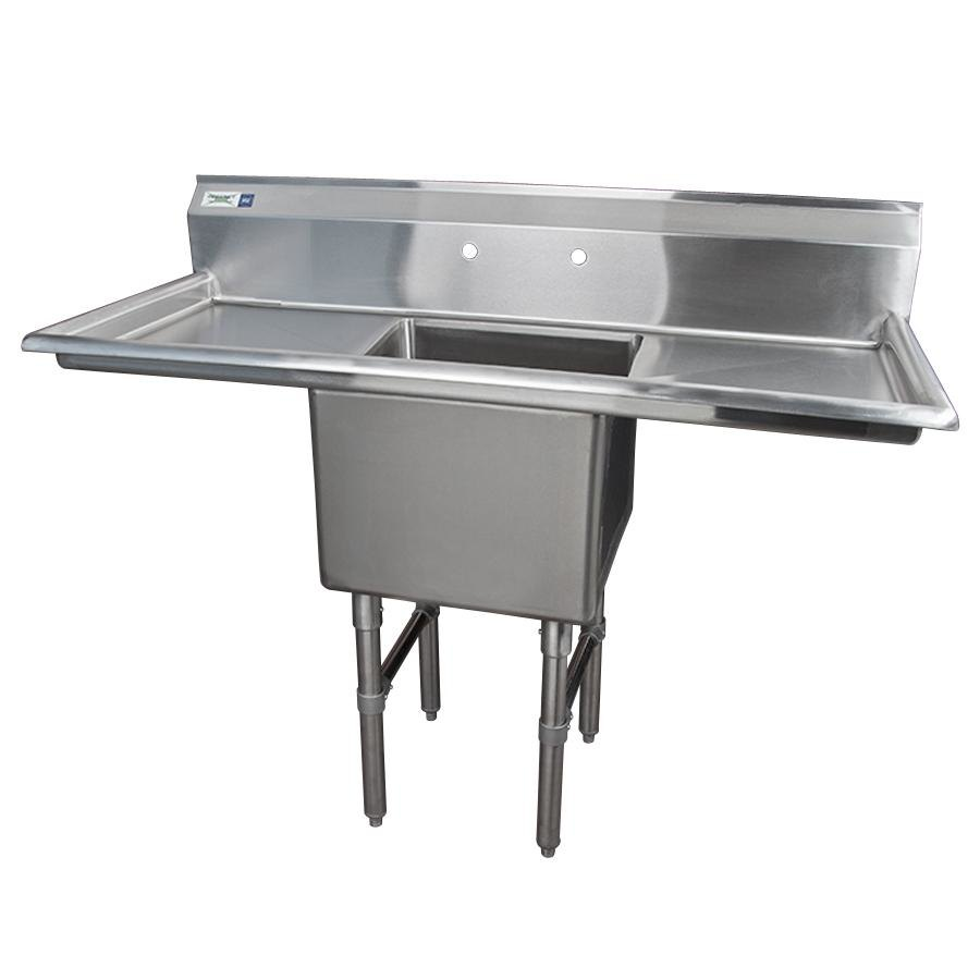 Stainless Steel Sinks With Drainboards : Stainless Steel One Compartment Commercial Sink with 2 Drainboards ...