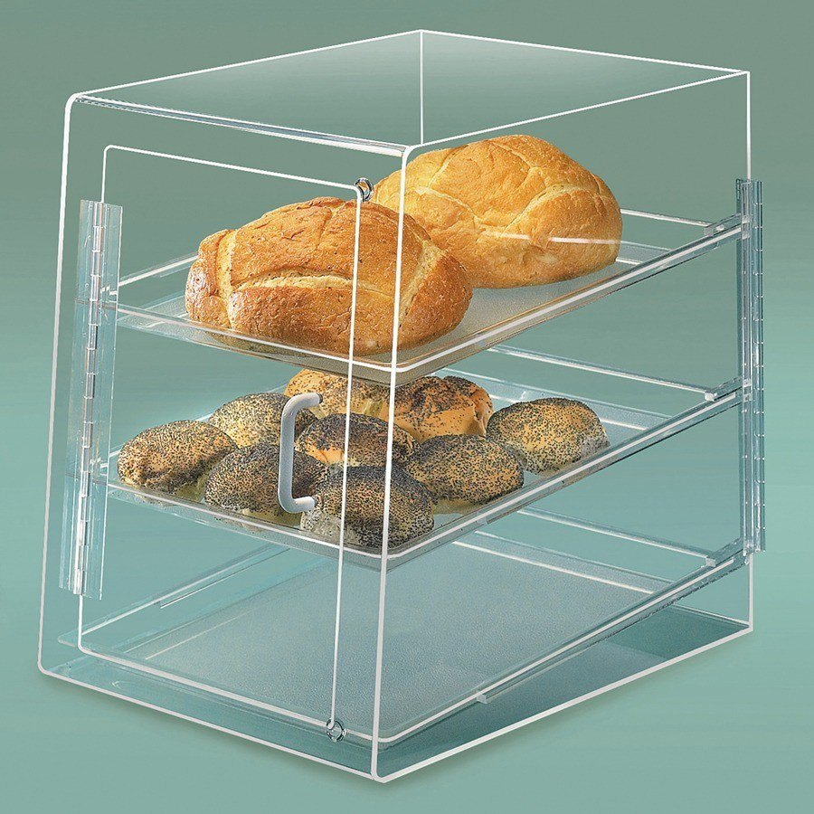 Cal Mil 241-S Acrylic Bakery Display Case with Front and Rear Door - 3 Tray 13 1/2 inch x 20 inch x 18 inch
