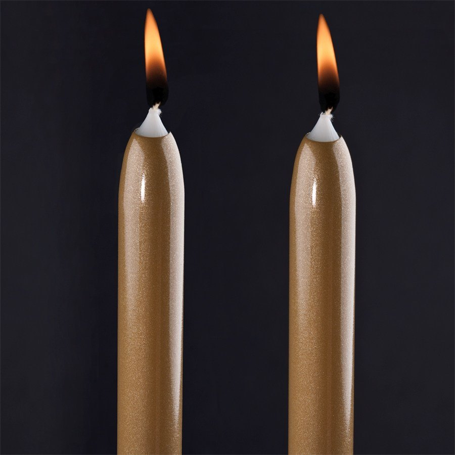 "Will & Baumer 12"" Gold Chace Candle 2 / Pack"