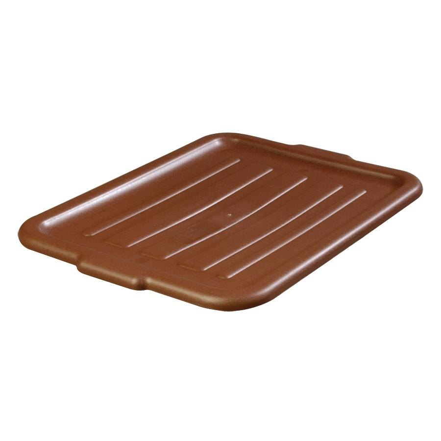 20 inch x 15 inch Polyethylene Plastic Bus Tub, Bus Box Lid - Brown