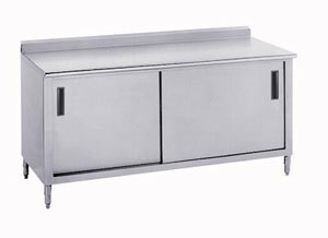 "Advance Tabco 14 Gauge Advance Tabco CF-SS-366 36"" x 72"" Work Table with Cabinet Base and 1 1/2"" Backsplash at Sears.com"