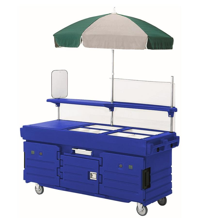Cambro CamKiosk KVC854U186 Navy Blue Vending Cart with 4 Pan Wells and Umbrella
