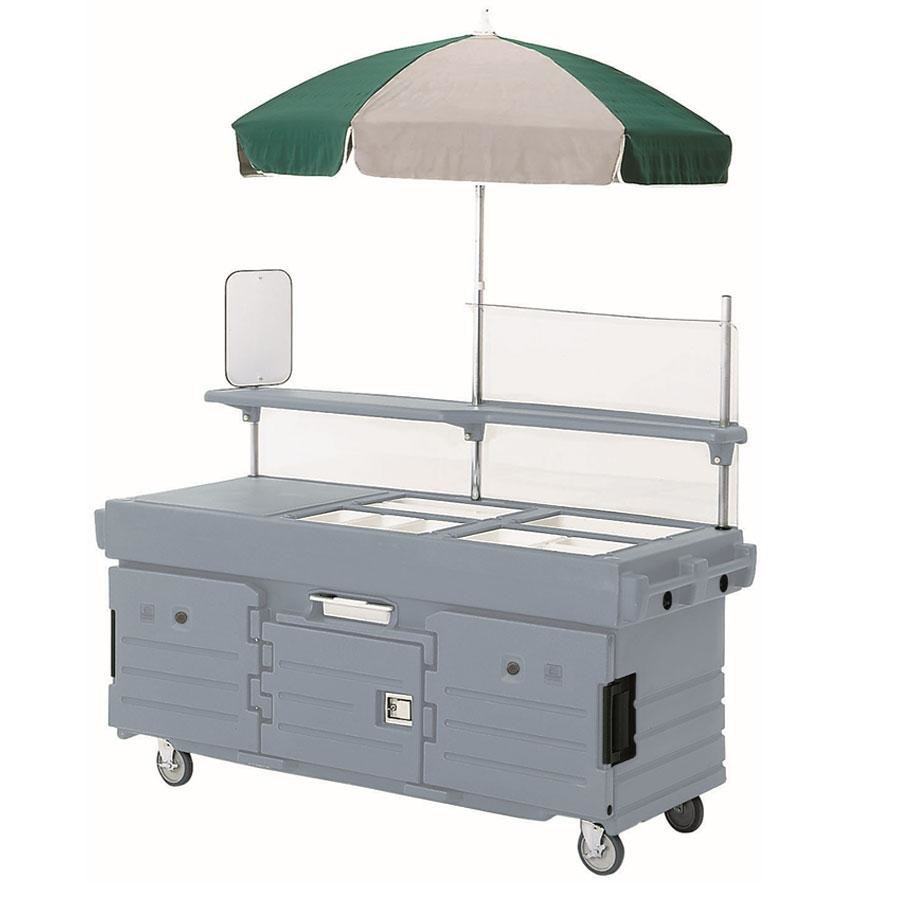 Cambro CamKiosk KVC854U191 Granite Gray Vending Cart with 4 Pan Wells and Umbrella