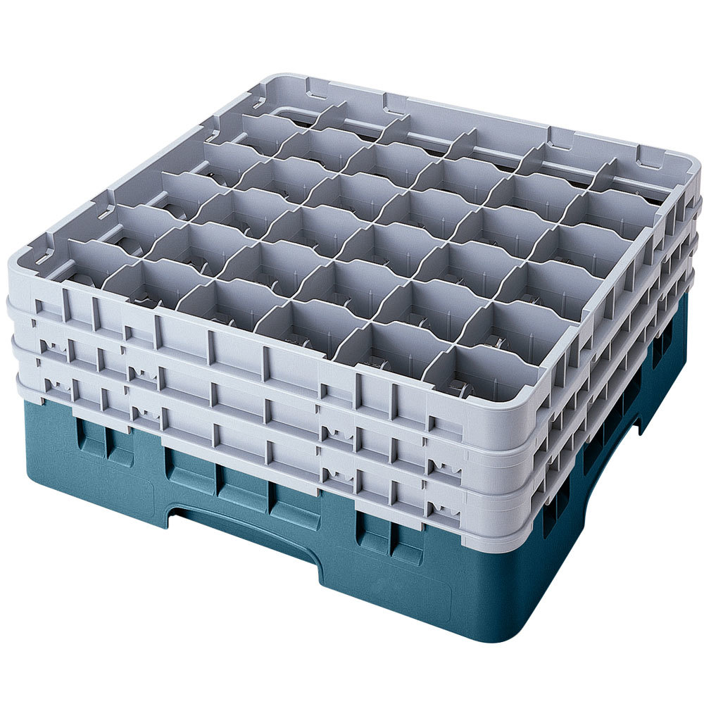 "Cambro 36S958414 Teal Camrack 36 Compartment 10 1/8"" Glass Rack"