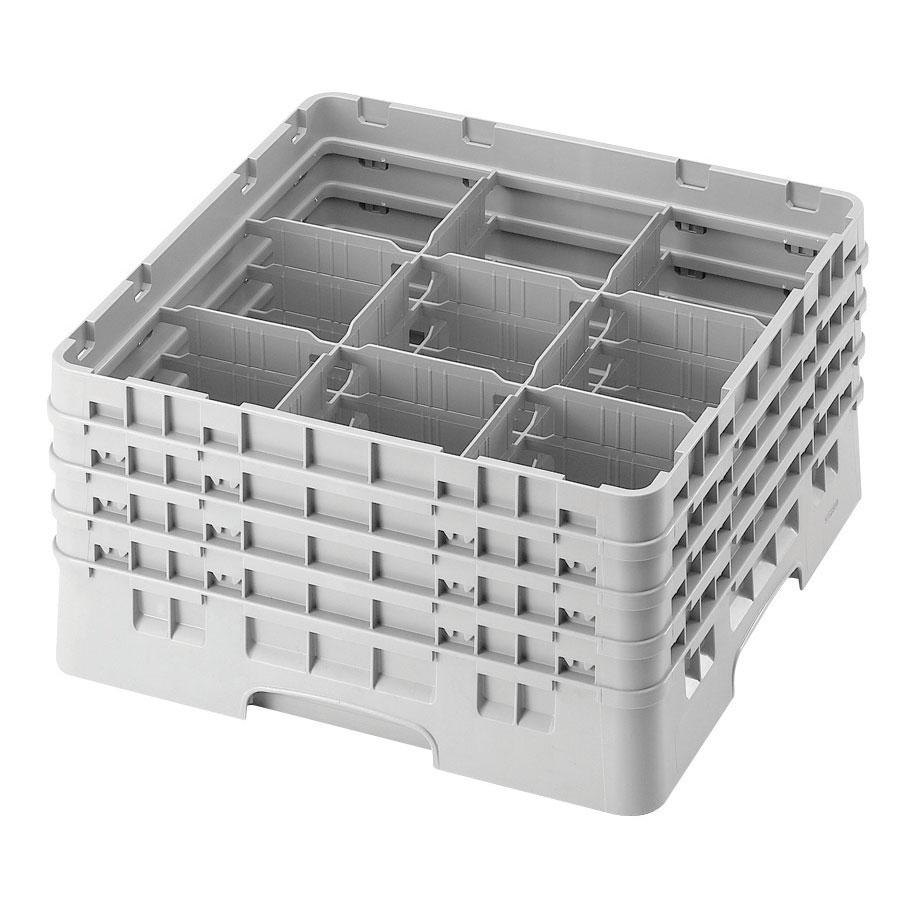"Cambro 9S800151 Soft Gray Camrack 9 Compartment 8 1/2"" Glass Rack"