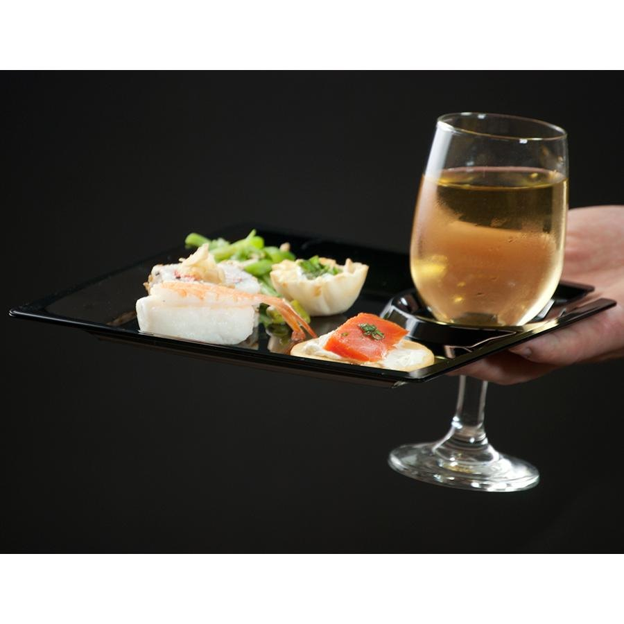 "WNA Comet MSCTLBK 8"" Black Square Milan Plastic Cocktail Plate with Cup Holder - 120/Case"