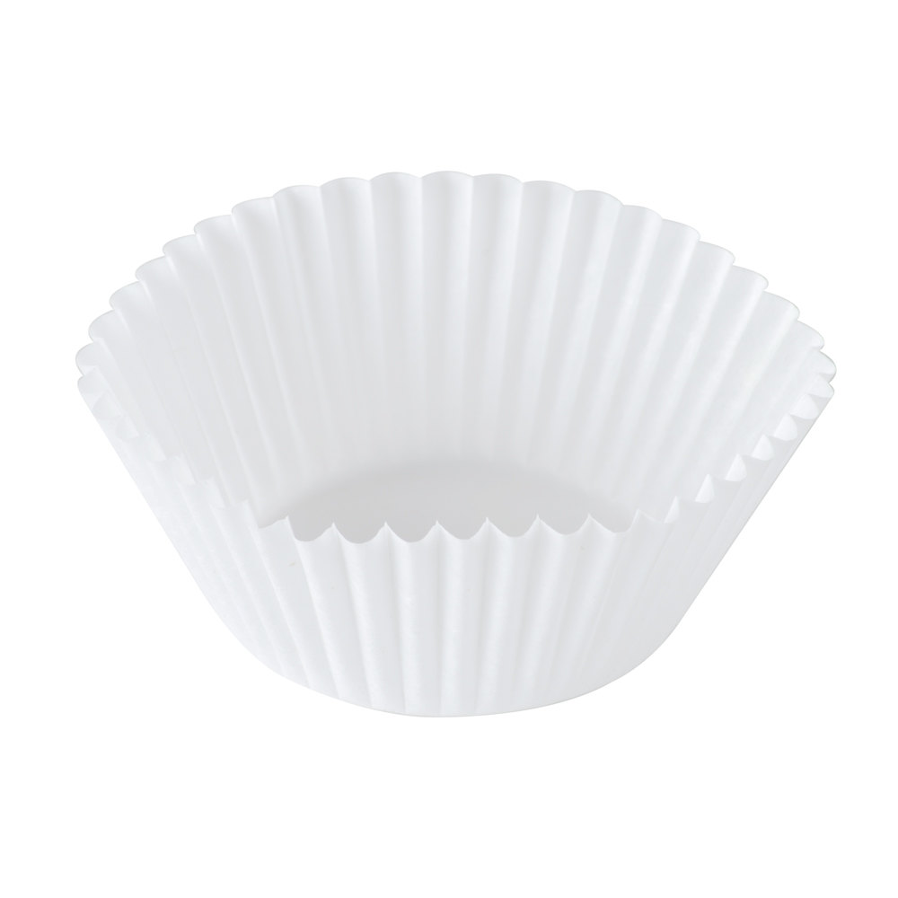 "Hoffmaster 610020 1 3/4"" x 1 1/8"" White Fluted Baking Cup 10,000 / Case"