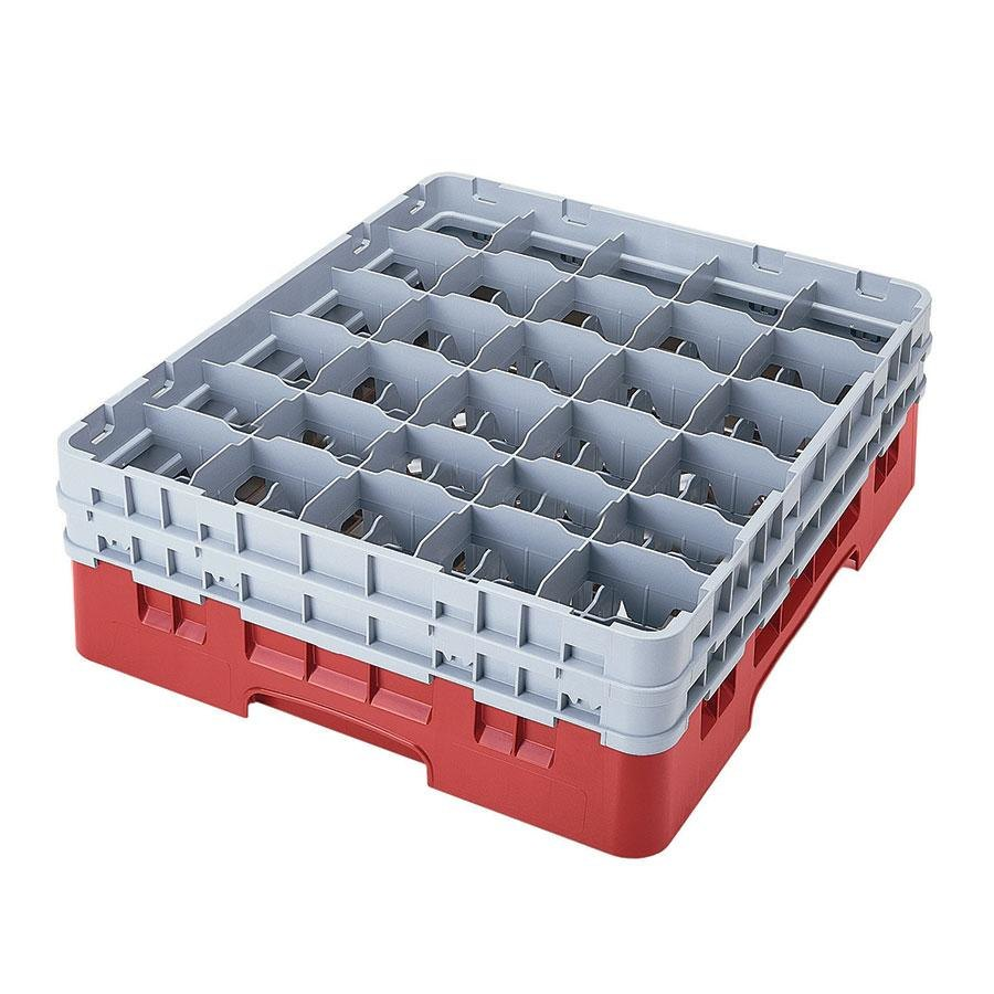 "Cambro 30S318163 Red Camrack Customizable 30 Compartment 3 5/8"" Glass Rack"
