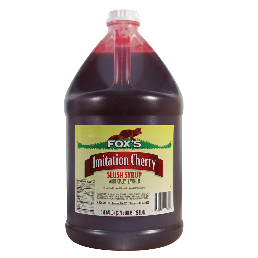 Fox's Cherry Slush Syrup 4 - 1 Gallon Containers / Case