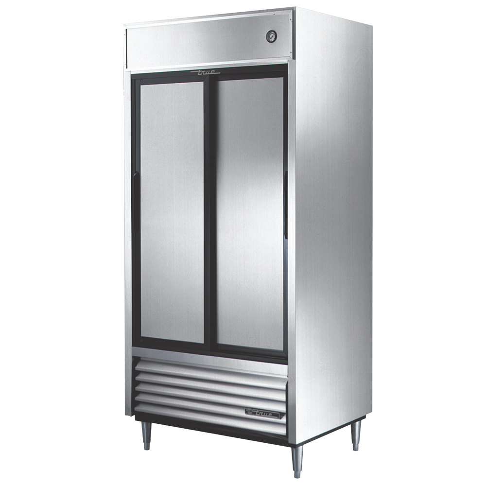 "True TSD-33 40"" Two Section Solid Sliding Door Reach in Refrigerator - 33 Cu. Ft."