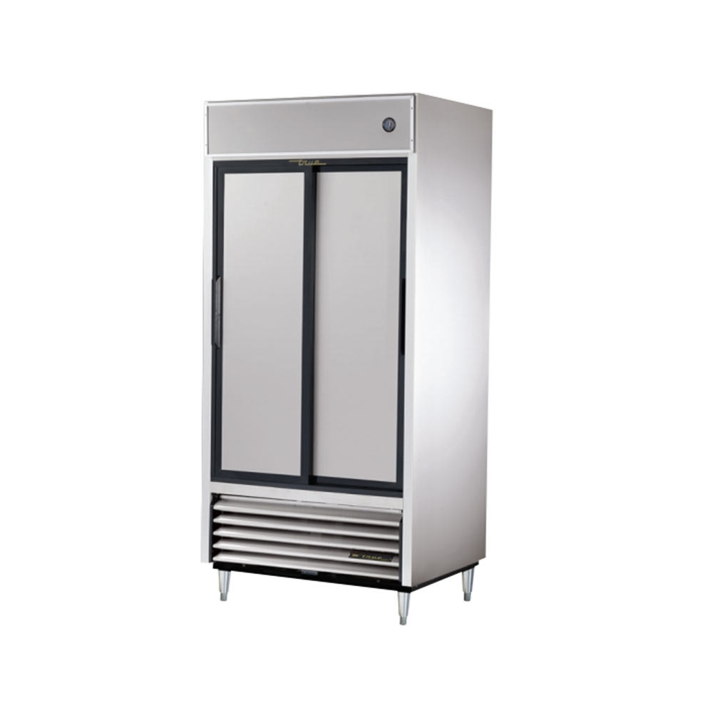 True TSD-33 Two Section Sliding Solid Door Reach In Refrigerator - 33 Cu. Ft.