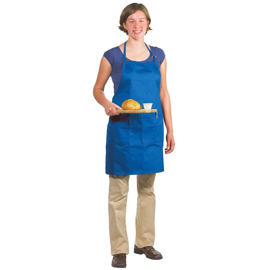 "Chef Revival 601BAO-3-RB Customizable Professional Gourmet Full-Length Royal Blue Bib Apron - 30""L x 28""W"