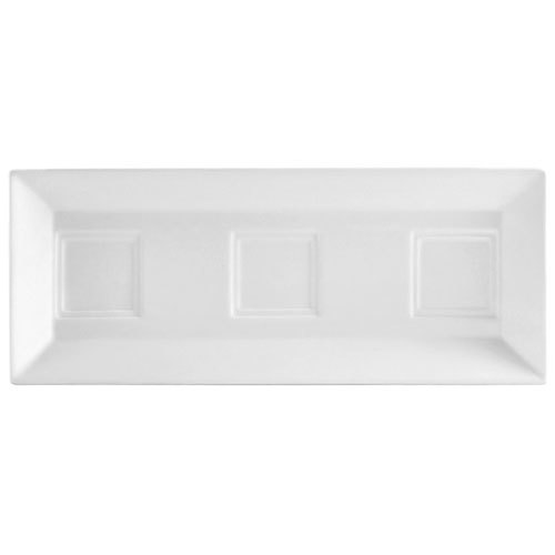 "CAC CTY-RT10 Citysquare 12"" x 4 3/4"" Bright White Porcelain Tray with 3 Bowl Holders - 24/Case"