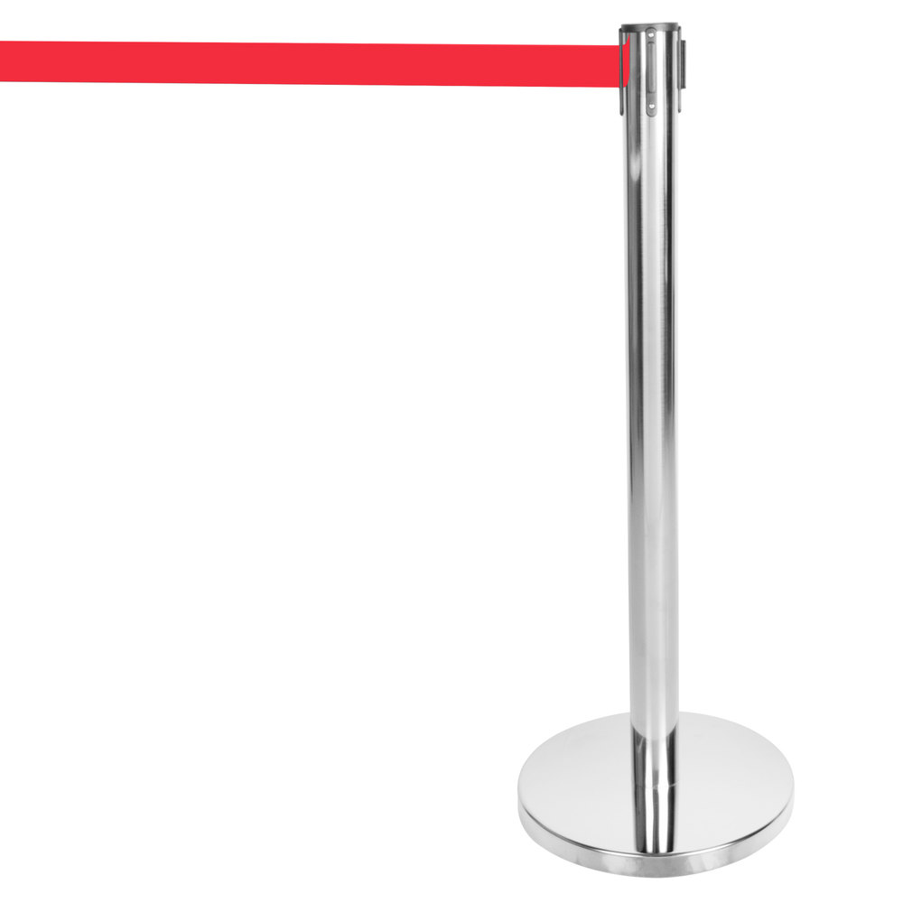 "Aarco HS-7 Satin 40"" Crowd Control / Guidance Stanchion with 84"" Red Retractable Belt"