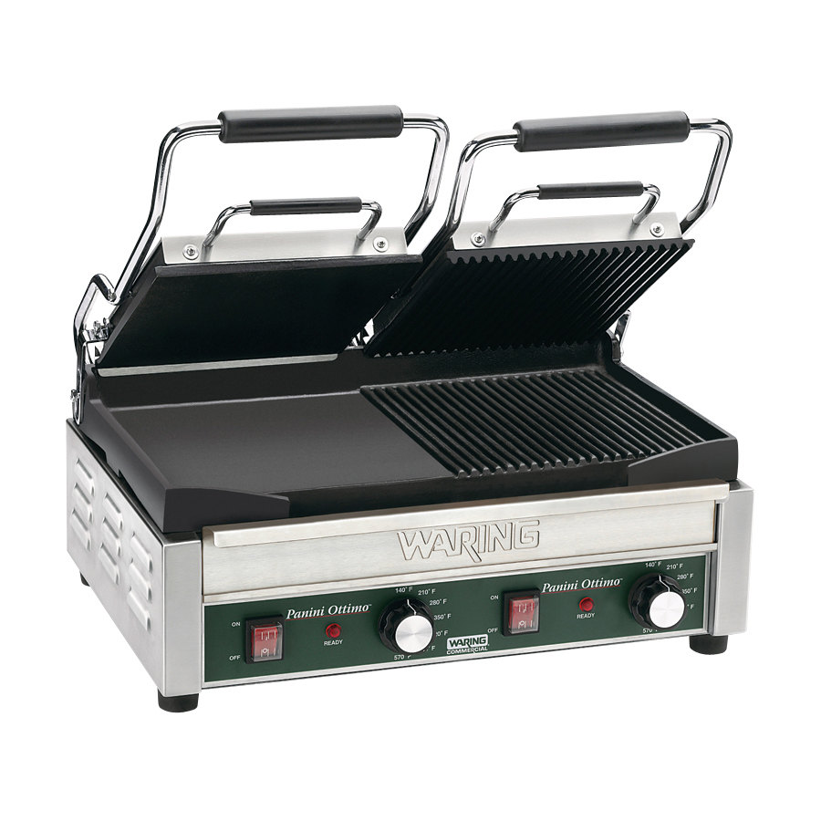 Waring WDG300 17 inch x 9 1/4 inch Two Grooved and Two Smooth Plate Panini Sandwich Grill 240V