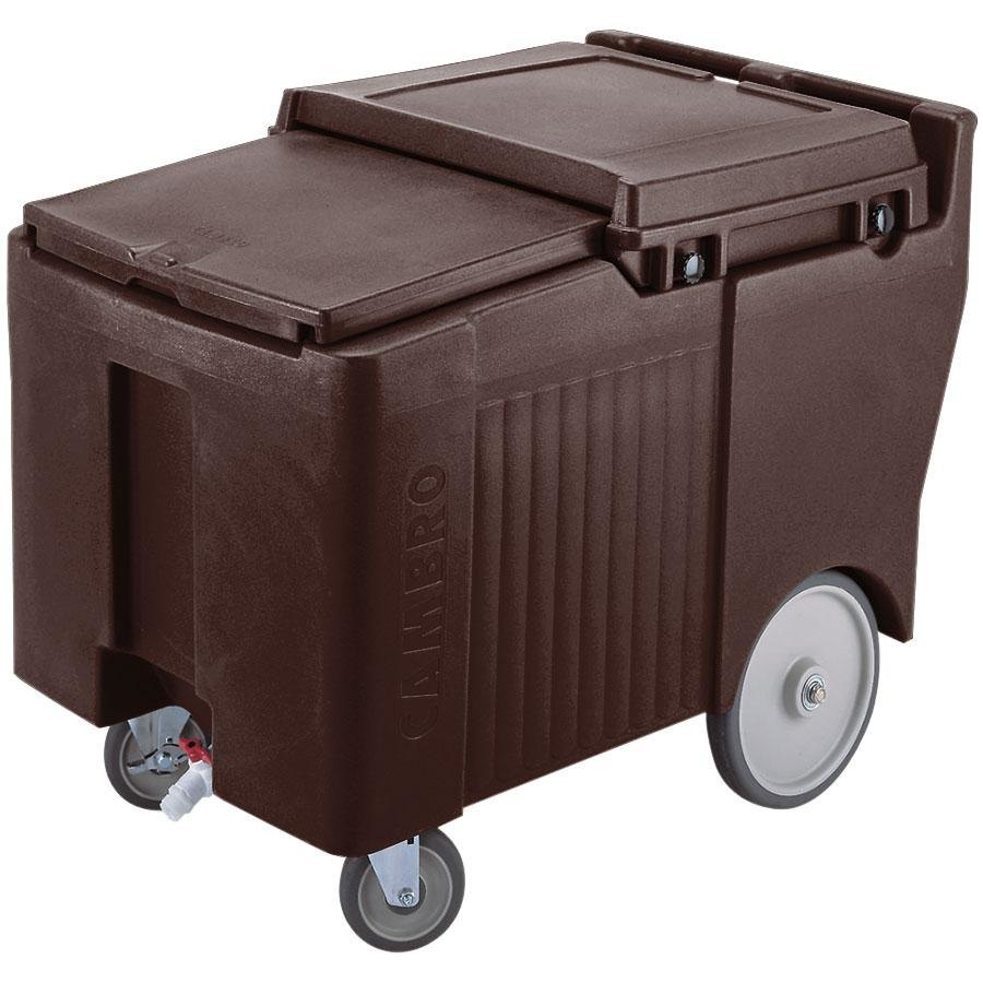 Cambro ICS125LB131 Dark Brown Sliding Lid Portable Ice Bin - 125 lb. Capacity