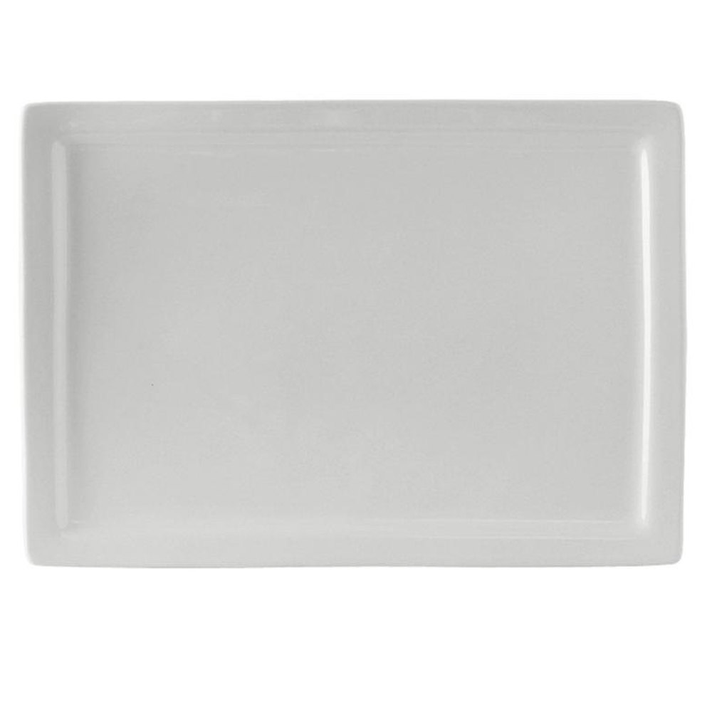 "Tuxton BWH-1544 DuraTux 15 1/2"" x 11"" White Rectangular China Plate - 6/Case"