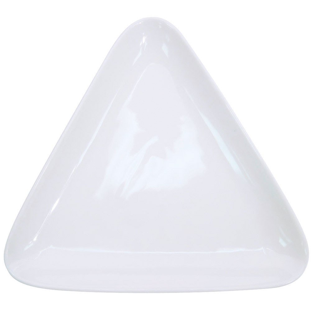 "CAC COP-T16 10 3/4"" x 10"" Coupe Bright White Triangle Porcelain Plate - 12/Case"