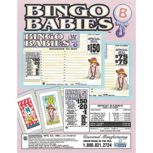 """""""Bingo Babies"""" 1 Window Pull Tab Tickets - 1530 Tickets Per Deal - Total Payout: $250 at Sears.com"""