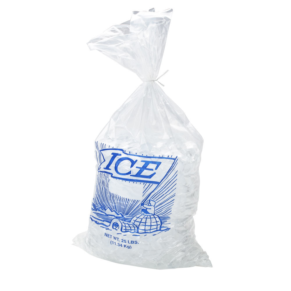 25 lb. Plastic Ice Bag with Blue ICE logo 500 / Bundle
