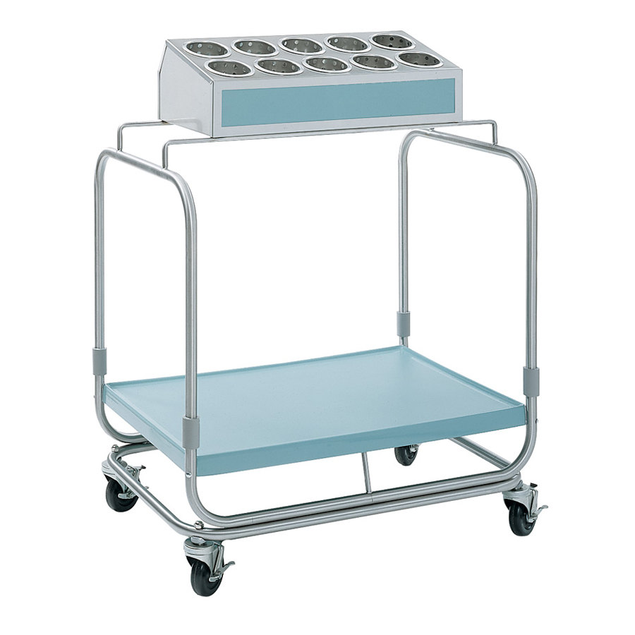 Delfield UTS-1SS Tray and Silverware Cart with 10 Hole Flatware Bin and Stainless Steel Tray Shelf