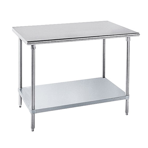 "Advance Tabco GLG-4812 48"" x 144"" 14 Gauge Stainless Steel Work Table with Galvanized Undershelf"