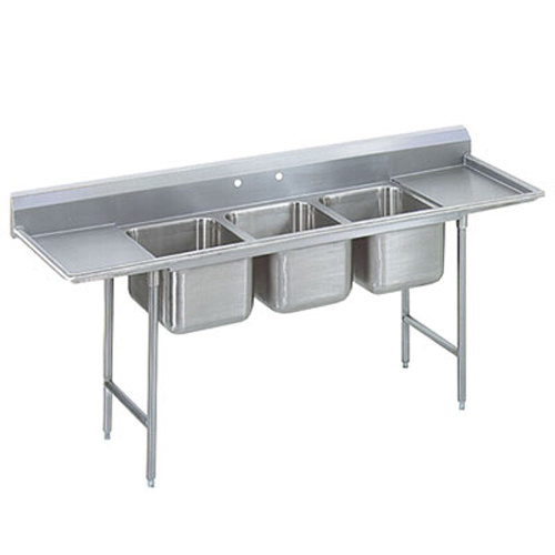 Advance Tabco 93-83-60-36RL Regaline Three Compartment Stainless Steel Sink with Two Drainboards - 139""