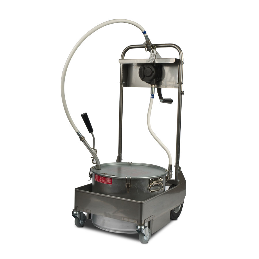 MirOil 55HS 50 lb. Fryer Oil Hand Operated Filter Machine and Discard Trolley - Countertop