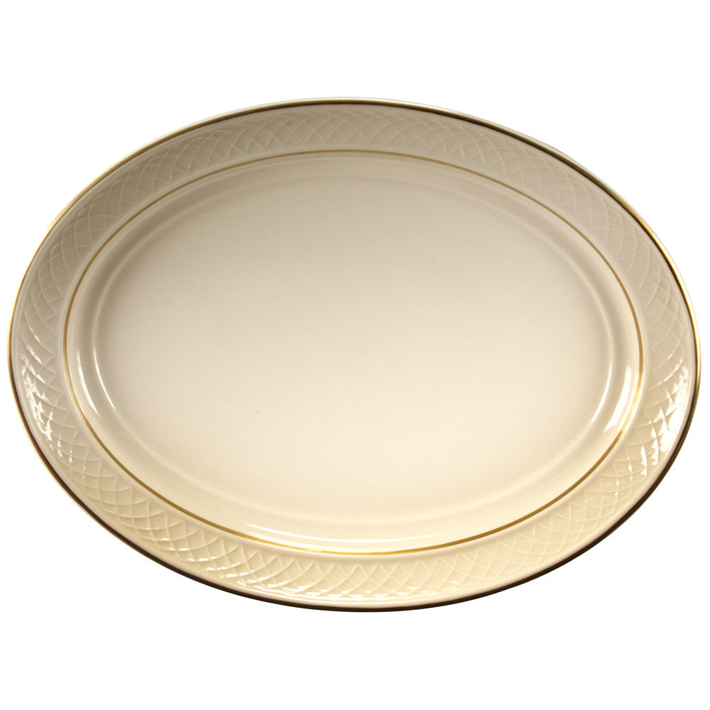 "Homer Laughlin 1420-0352 Westminster Gothic Off White 11 1/2"" Oval Platter - 12/Case"