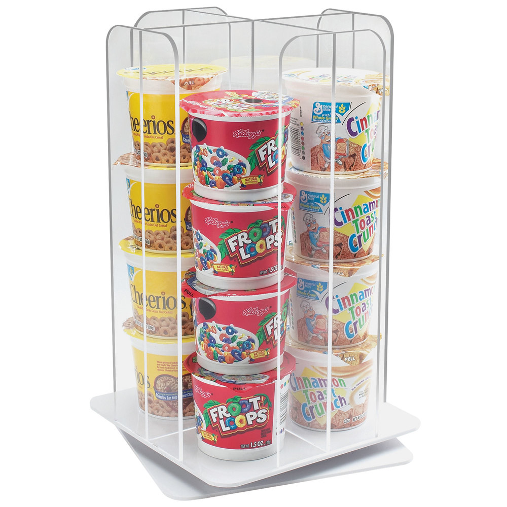 cal mil 153912 acrylic revolving cup cereal organizer