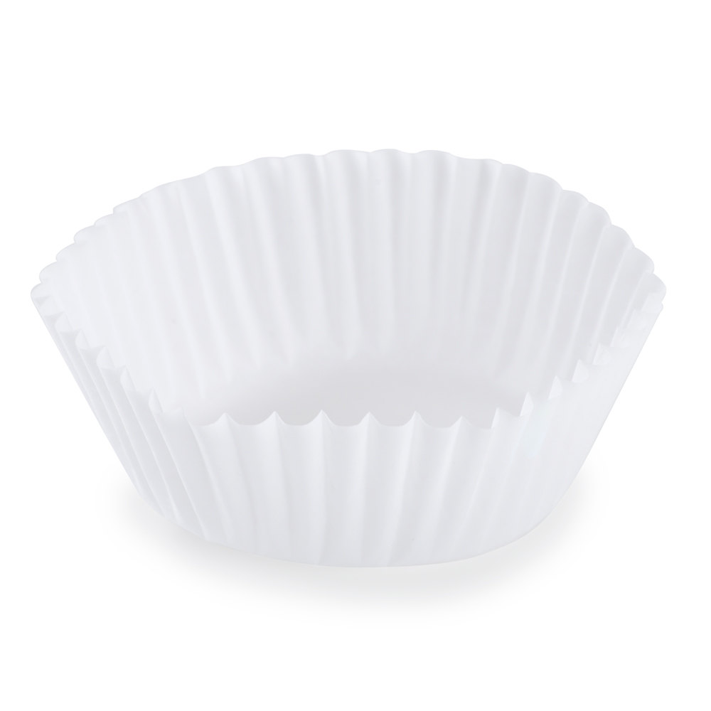 "Hoffmaster 610021 2"" x 1"" White Fluted Baking Cup 500 / Box"