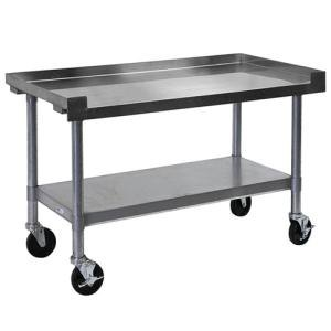 "APW Wyott SSS-60C 16 Gauge Stainless Steel 60"" x 24"" Medium Duty Cookline Equipment Stand with Galvanized Undershelf and Casters"