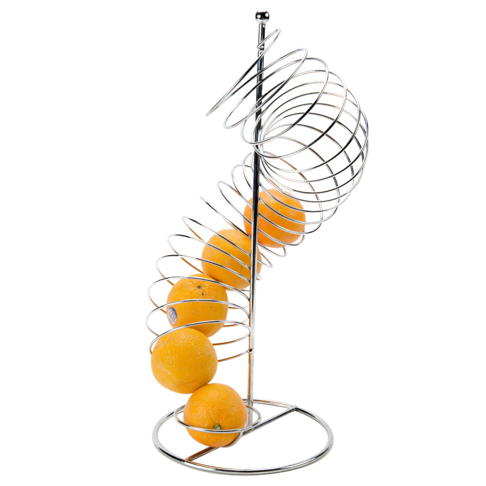 "Tablecraft FSP1507 Chrome Spiral Fruit Basket - 9"" x 18 1/2"""