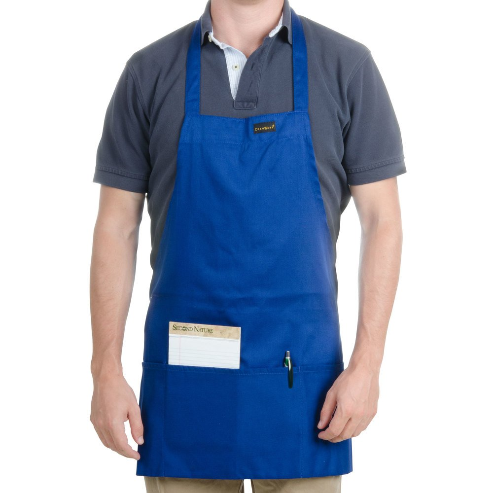 "Chef Revival 602BAFH-RB Customizable Professional Front of the House Royal Blue Bib Apron - 28""L x 25""W"