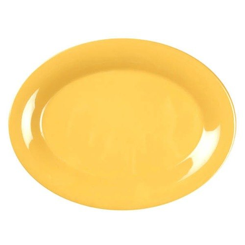 "9 1/2"" x 7 1/4"" Oval Yellow Platter - 12/Pack"