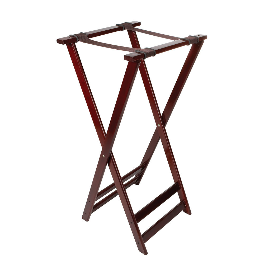 "GET TSW-105 Folding Mahogany 38"" Wood Tray Stand"
