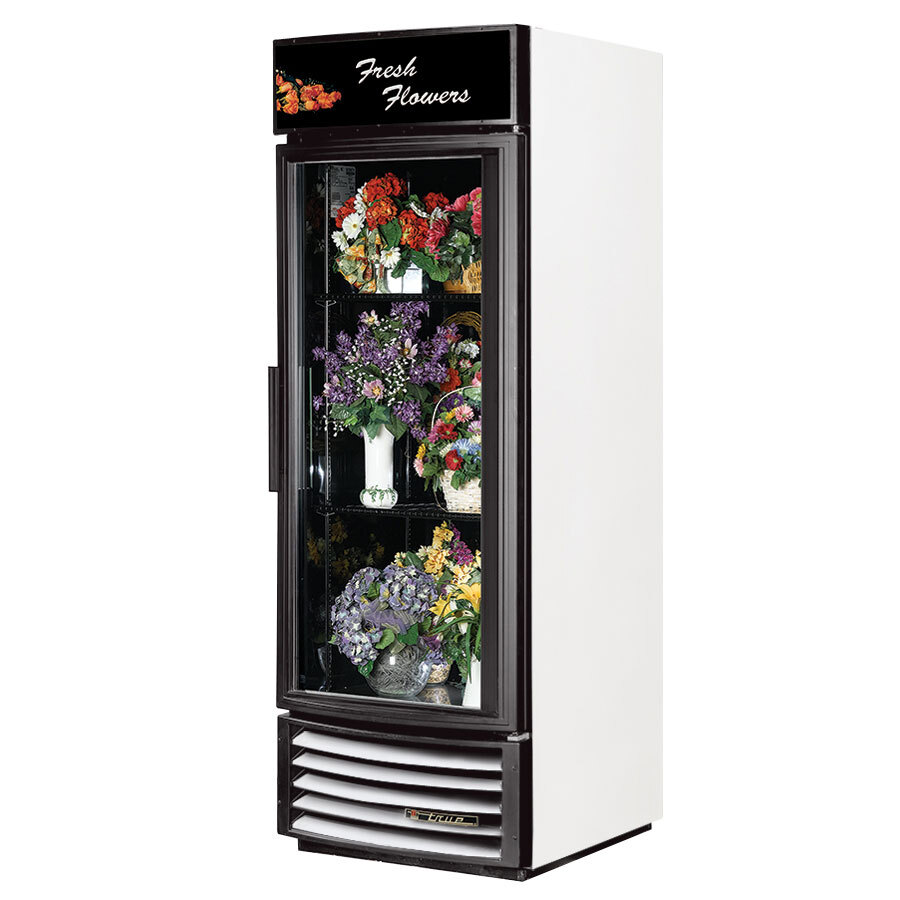 True GDM-23FC-RF White Glass Door Floral Case with Radius Front - 23 Cu. Ft.