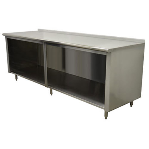 "14 Gauge Advance Tabco EF-SS-2410 24"" x 120"" Open Front Cabinet Base Work Table with 1 1/2"" Backsplash"