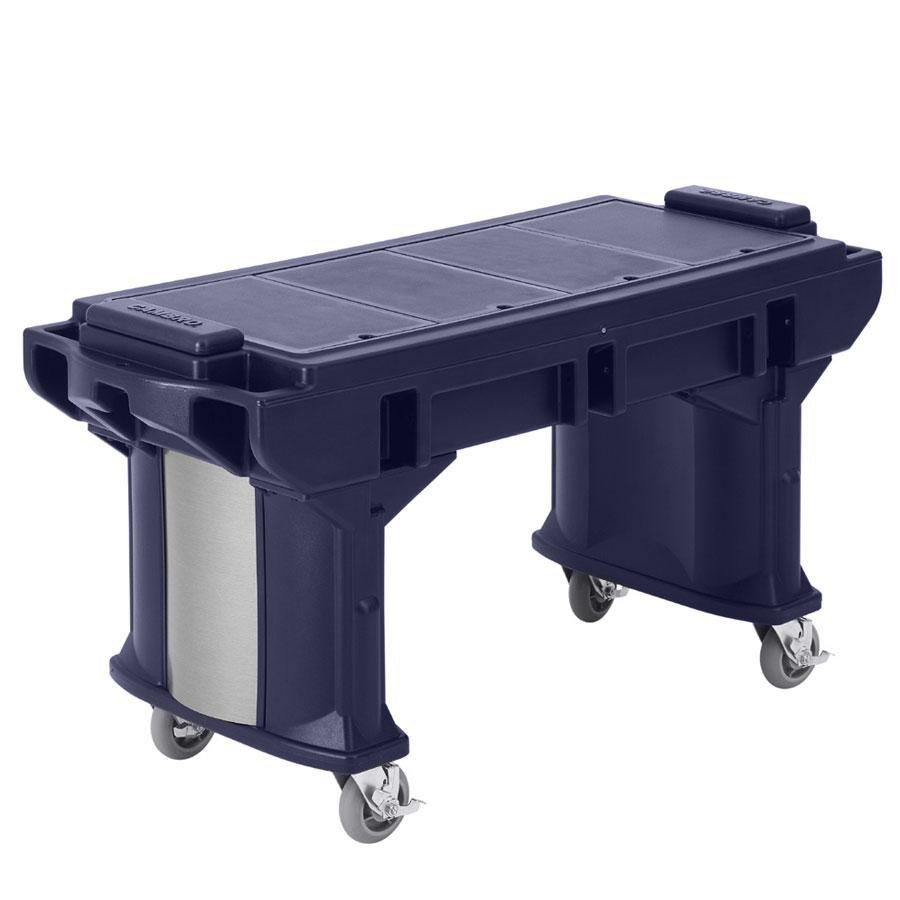 Cambro VBRTHD5186 Navy Blue 5' Versa Work Table with Heavy Duty Casters