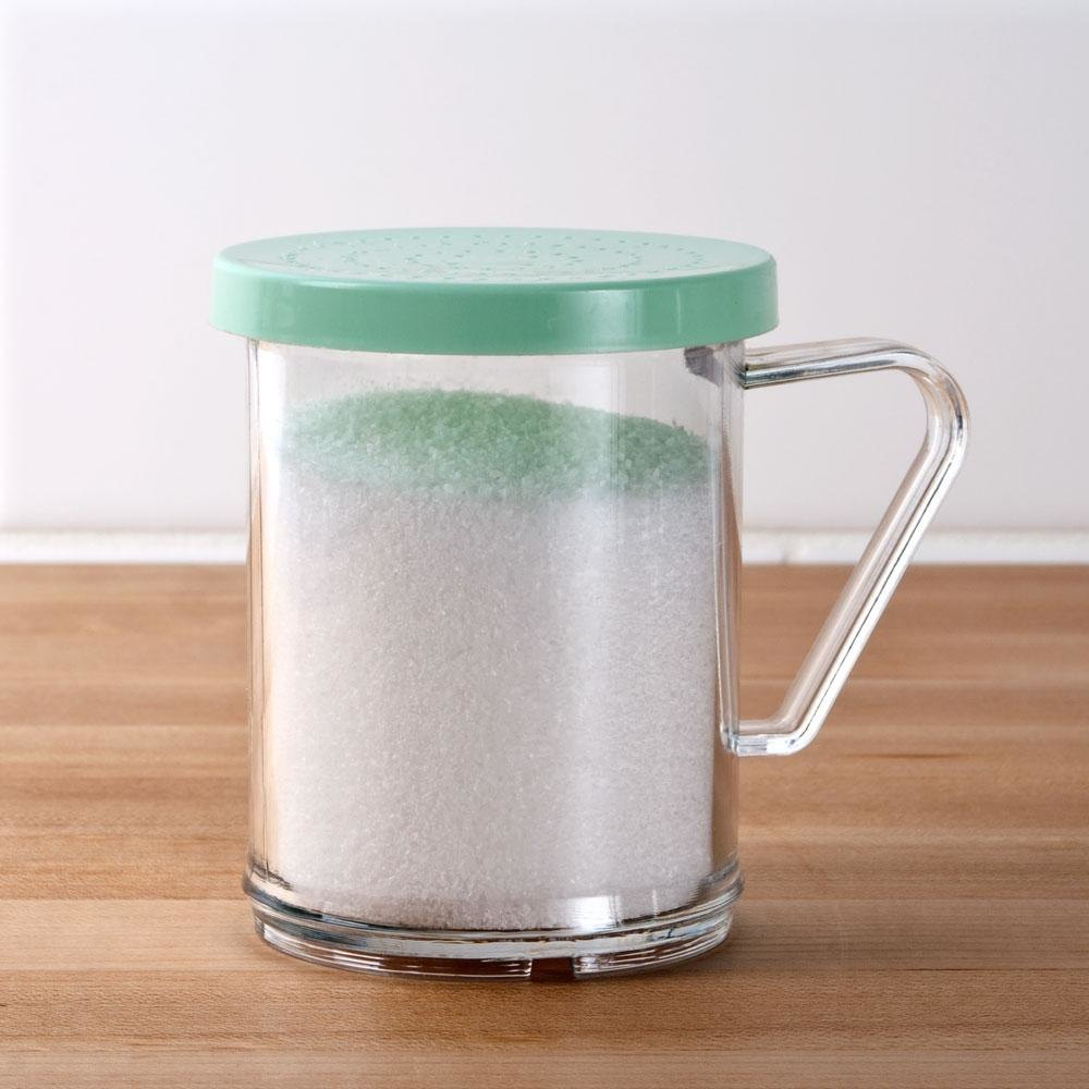Tablecraft 166B 10 oz. Polycarbonate Shaker with Green Lid for Fine Ground Product
