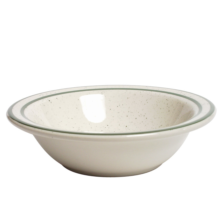 Tuxton TES-010 Emerald 11 oz. Green Speckle Narrow Rim China Grapefruit Dish / Bowl - 36/Case