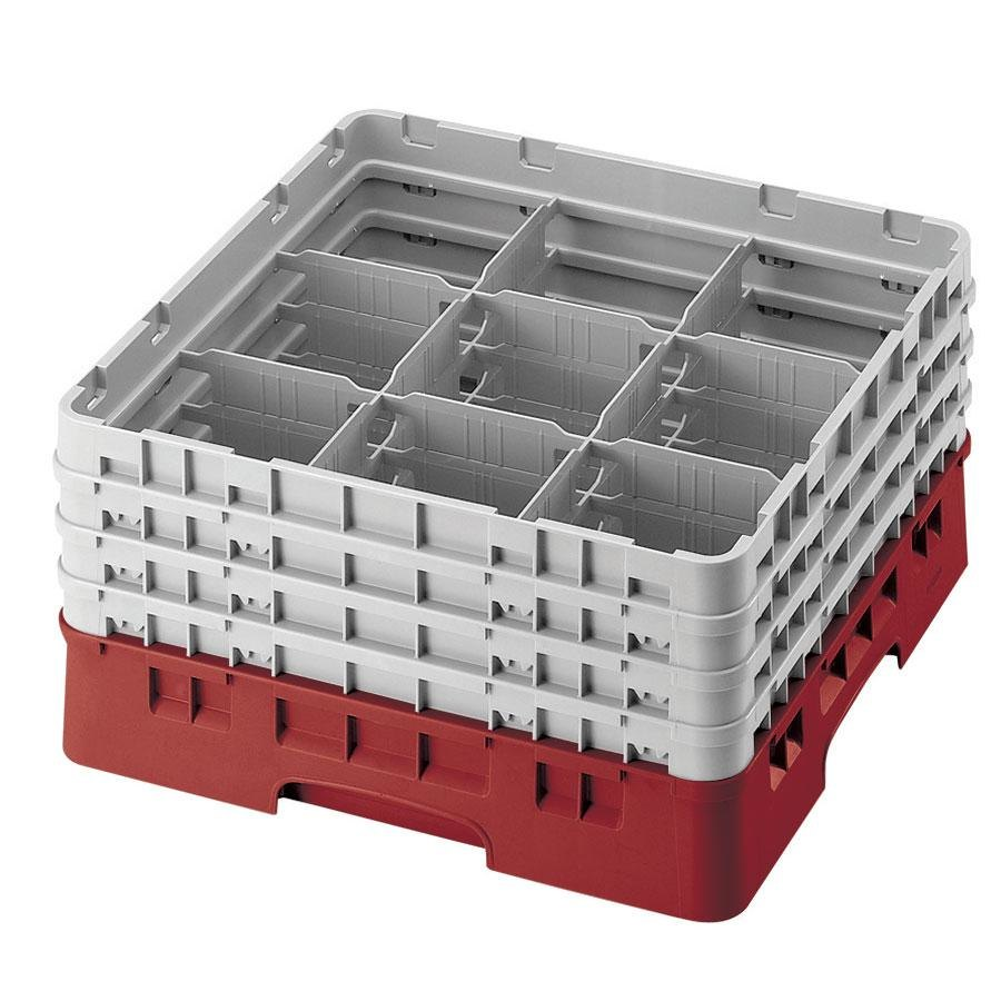 "Cambro 9S958416 Cranberry Camrack Customizable 9 Compartment 10 1/8"" Glass Rack"