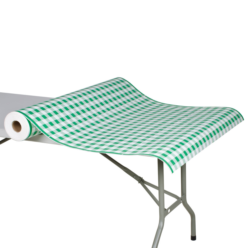 Buffet table skirting style - 40 Quot X 300 Paper Table Cover With Green Gingham Pattern