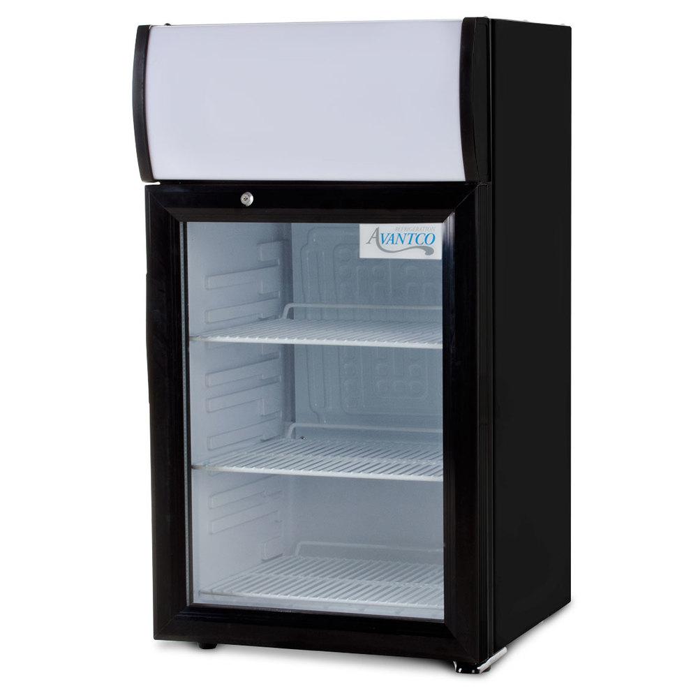 Avantco sc 40 countertop display refrigerator with glass for 1 door chiller